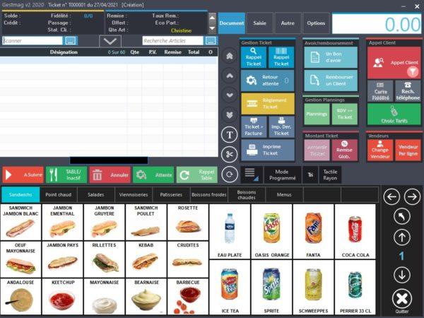 écran de caisse pour la restauration rapide