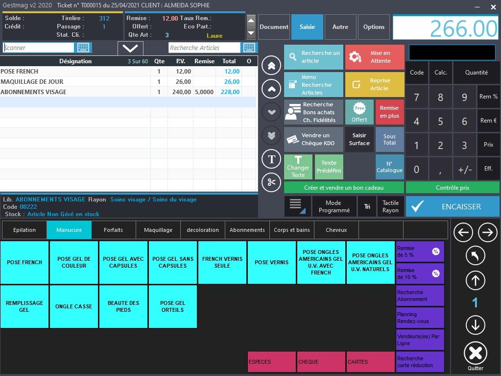 écran de caisse avec logiciel gestmag institut de beauté